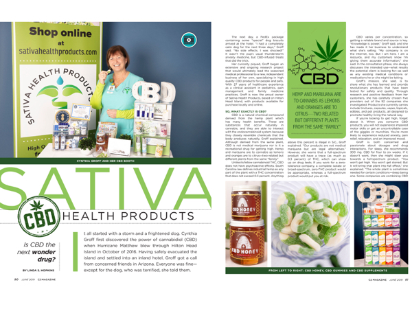 Hilton Head Magazines: CH2/CB2: Sativa Health Products: Is CBD the