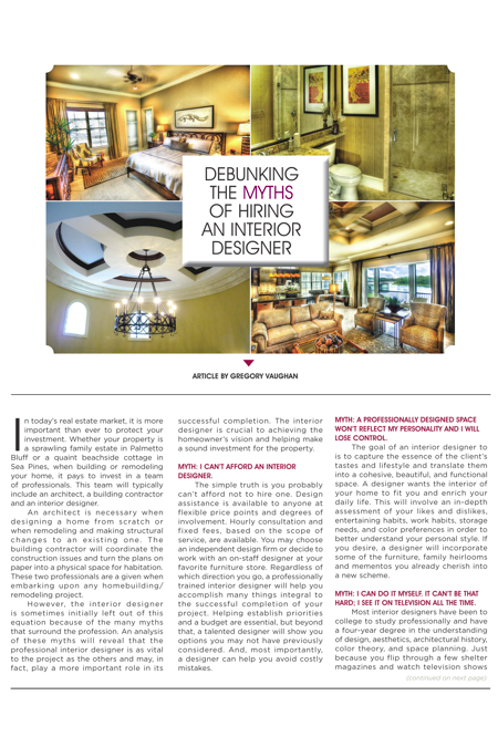 Hilton Head Magazines Ch2 Cb2 Debunking The Myths Of Hiring An Interior Designer