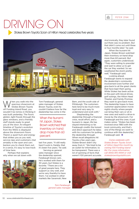 Stokes Brown Toyota Of Hilton Head >> Hilton Head Magazines Ch2 Cb2 Driving On Stokes Brown