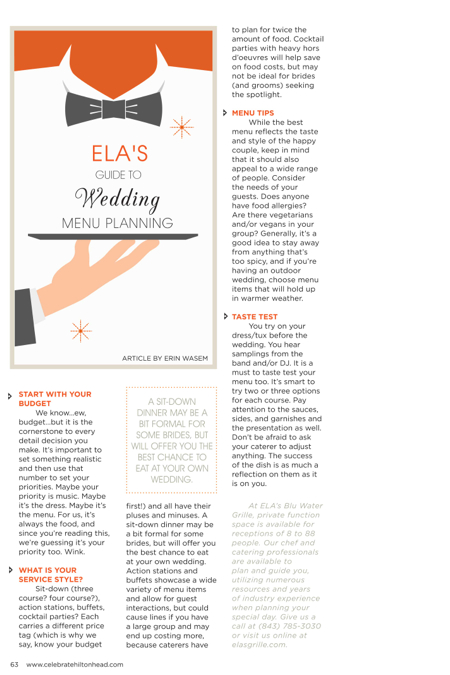 Hilton Head Magazines Ch2cb2 Elas Guide To Wedding Menu Planning