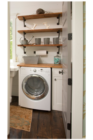 From Top Left This Vintage Inspired Laundry Room Continues The Use Of Reclaimed Wood For Floor And Industrial Open Shelving